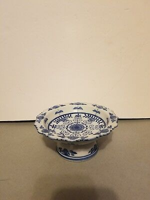 Handcrafted In Thailand Blue and White Ceramic Trinket Dish Plate Floral