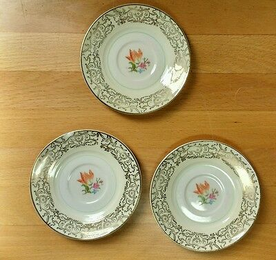 Vintage Ceramic Tea Cup Plates - Cream Floral & Gold - Marked Y on Bottom