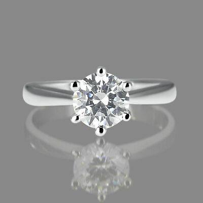1.25 CT Solitaire Round Cut Diamond Engagement Ring Enhanced 14K White Gold D/SI
