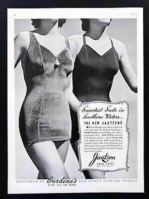1940 Vintage Print Ad 40's JANTZEN Woman's Swimsuit Fashion Sun Clothes