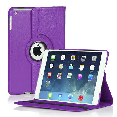 360 Rotating Stand Folio PU Leather Case Smart Cover For iPad Air 5th Gen Purple