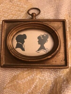 Antique 18th/19th c Victorian Man & Woman Couple Miniature Silhouette Fancy