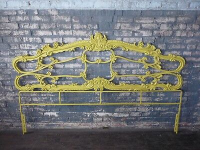Vintage French Provincial Art Nouveau Iron King Headboard
