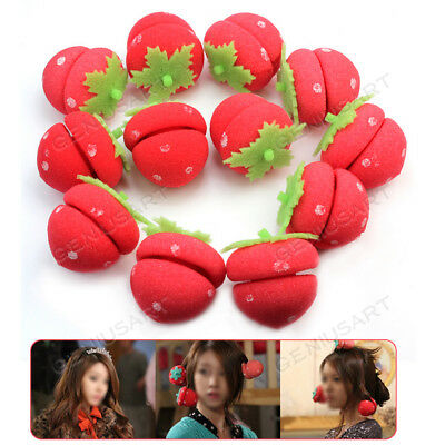 Girl Sewwt Strawberry Ball Hair Care Soft Sponge Rollers Curlers DIY Tool 12pcs