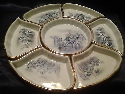 Vintage Hand Painted Imperial Nippon Oriental Design 7 Piece Snack Set