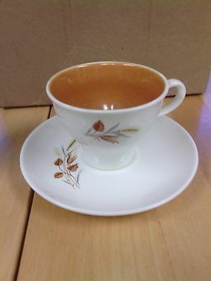 "Vintage Taylor Smith Ever Yours Autumn Harvest Wheat Footed 3"" Cup & Saucer Set"
