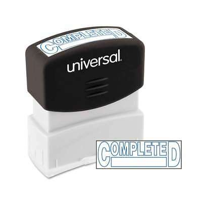 Universal® Message Stamp, COMPLETED, Pre-Inked One-Color, Blue In 087547100448