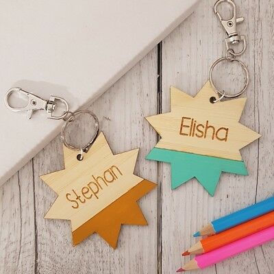 Children's Star Wooden Personalised School Bag Tag
