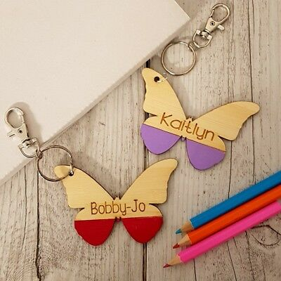 Children's Butterfly Wooden Personalised School Bag Tag
