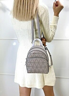 9bd1dcb89e Michael Kors Abbey Extra Small Backpack Mini Xbody Saffiano Leather Pearl  Grey