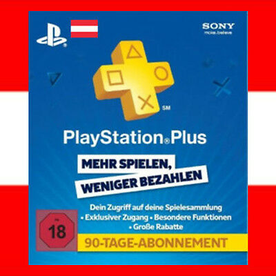 SONY PSN Live Card Plus 3 Monate Playstation 3 4 90 Tage PS+ PS3 PS4 PSP - AT