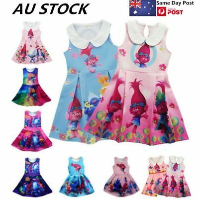Trolls Poppy Kids Girls Toddlers Princess Dress Printing Cosplay Costume Party