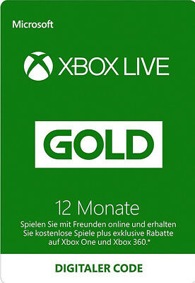 12 Monate Xbox One / 360 Live Gold Mitglliedschaft Karte 12 Month Card Code