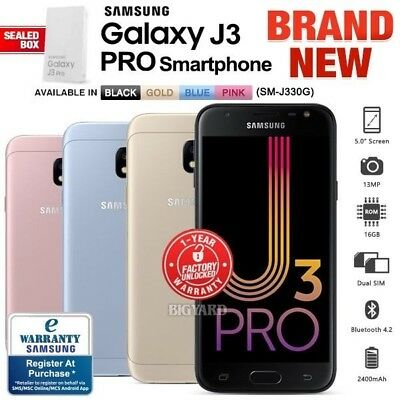 New Unlocked SAMSUNG Galaxy J3 Pro J330G Black Gold Blue Pink Android Smartphone
