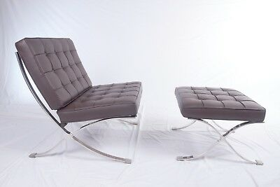 Barcelona Pavilion Genuine Grain Italian Leather Lounge Chair and Ottoman BROWN