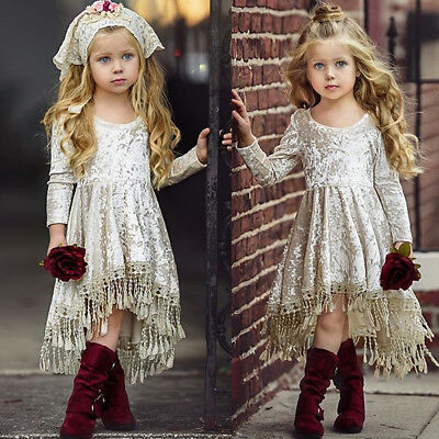 AU Flower Girl Dress Velvet Tassel Princess Baby Party Pageant Gown Formal Dress