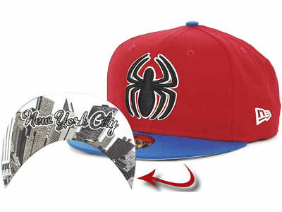 dbe16b29c MARVEL SPIDER-MAN AUTHENTIC New Era 59FIFTY Fitted Red Blue Cap Hat ...