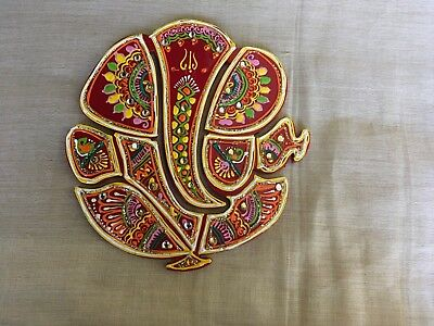 Lord Ganesh Ganesha decorated Wooden Sticker Wall hanging