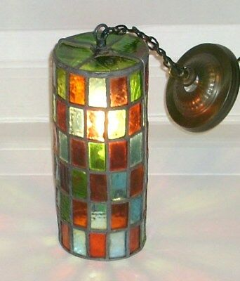 Old Antique Handmade Multi-Color Stained Leaded Glass Porch Foyer Ceiling Light