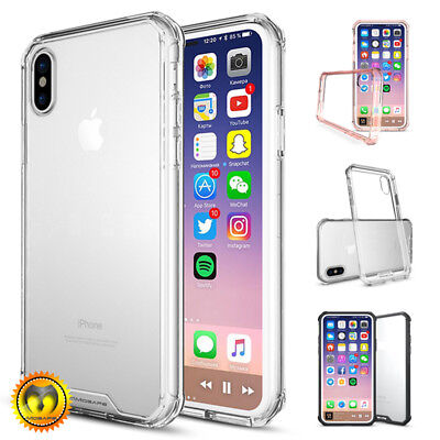 For iPhone XS X 8 7 Plus Clear Transparent Hard Case TPU Bumper Shockproof Cover