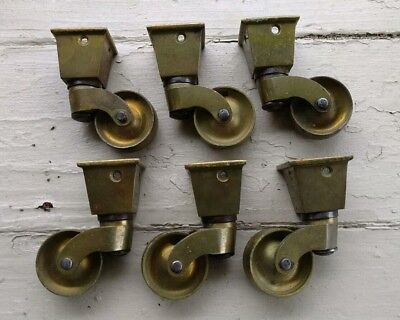 Antique Vintage Solid Brass Furniture Casters Brass Wheels Lot of 6