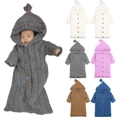 Newborn Baby Hooded Swaddle Wrap Winter Warm Knit Swaddling Blanket Sleeping Bag