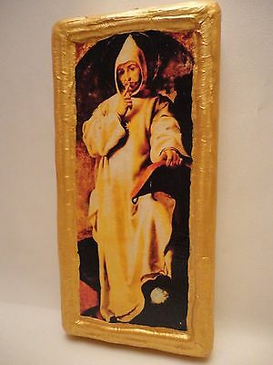 Saint Bruno of Cologne Christian Roman Catholic Old World Icon Gold Art OOAK