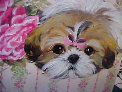 Shih Tzu Hand Painted Box With Roses