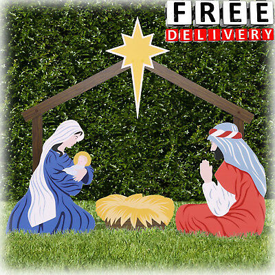 Outdoor Nativity Scene Christmas Store Yard Decoration Set Lawn Family Figures