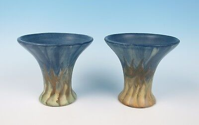 Pair of Peters & Reed Landsun Vases Antique American Art Pottery Trumpet and