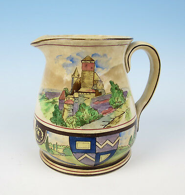 Antique Buffalo Pottery Pictoral Dutch Pitcher Jug Windmill Netherlands c. 1906