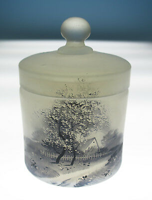 Antique Opalescent Glass Jar w/ Daum style Grisaille Painted Landscape Dresser
