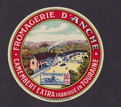 Ancienne étiquette Fromage France BN34913 Camembert Fromagerie d'Anché Touraine