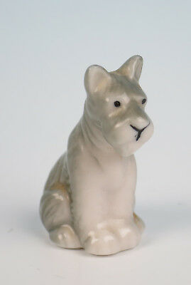 Antique German Porcelain Schnauzer Figurine Dog Figure Puppy Dollhouse Miniature