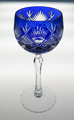 "Quality Vintage Blue Cut To Clear Crystal Wine Hock 7.75"" Glass French Bohemian"