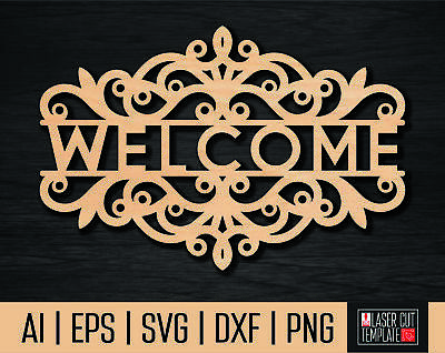 Cnc dxf file welcome sign. Welcome cut file.Cnc vector.