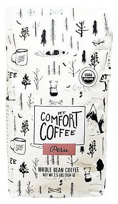 Mount Comfort Coffee Organic Whole Bean Coffee, Peru, 1.1kg. Shipping Included