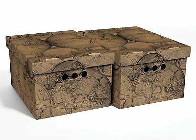 2pc Decorative Storage Boxes Home Office Box Organiser Large Old Map