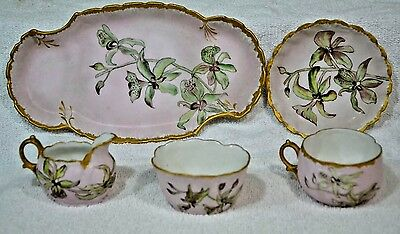 BEAUTIFUL  ANTIQUE Tiger Lilly HAND PAINTED ELITE LIMOGES 5 piece TEA SERVICE