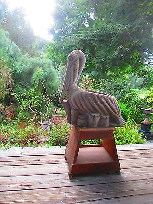 rare PELICAN cement stone GARDEN flower pot VINTAGE glass eyes FOLK ART planter