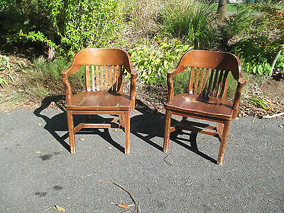 Courthouse /  Bankers BARREL - CURVED BACK vintage desk ARM CHAIRS
