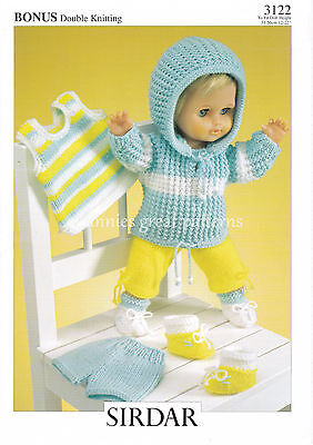 """DOLLS CLOTHES  DK laminated knitting pattern  to fit 12"""" - 22"""" doll"""