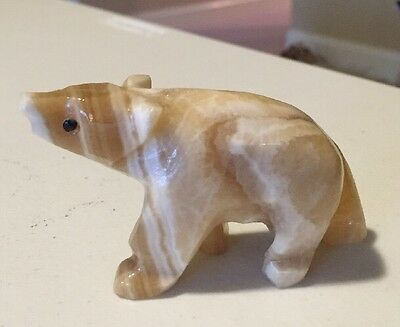 "Beautiful Vintage Hand Carved Marble Bear Sculpture Figure 3.5"" X 2.5"""