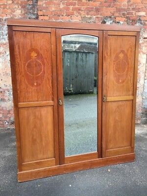 Large Antique Edwardian Inlaid Mahogany Triple Door Wardrobe With Mirrored Door