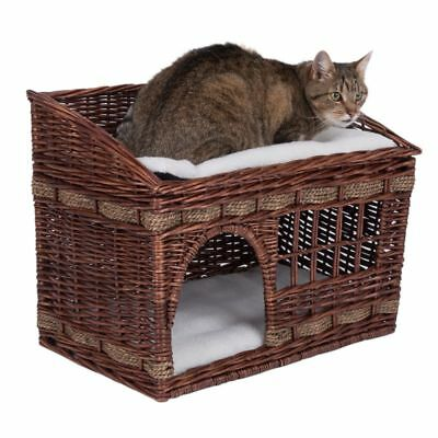 Cat Den bed Elaborately Woven Wicker Kitten Bed 2 Floors Window Napping Brown