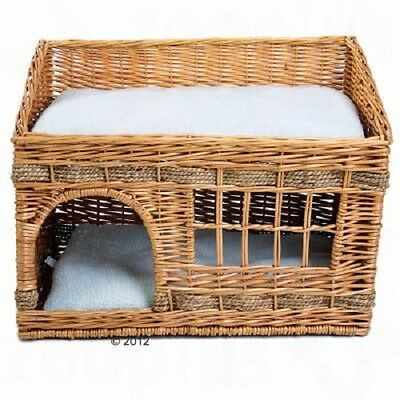 Cat Den bed Elaborately Woven Wicker Kitten Bed 2 Floors Window Napping Cushion