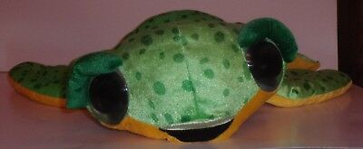 Large Big Eyed Turtle Plush Spotted Green & Yellow by Classic Toy Retired NWT
