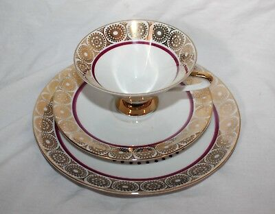 Vintage Winterling Bavaria Gold & Red Geometric Pattern Trio Plates Cup Set!