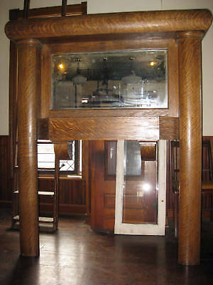 Tiger Oak Full Mantel Beveled Mirror Mission Era Architectural Salvage
