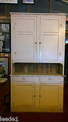 "Late 1800's Step Back Cupboard 7' 8"" Hutch Architectural Salvage Doors & Drawers"